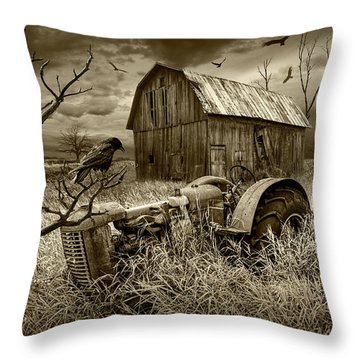 Throw Pillow featuring the photograph The Decline And Death Of The Small Farm In Sepia Tone by Randall Nyhof