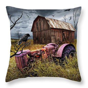 Throw Pillow featuring the photograph The Decline And Death Of The Small Farm by Randall Nyhof