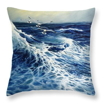 The Deep Blue Sea Throw Pillow by Eileen Patten Oliver