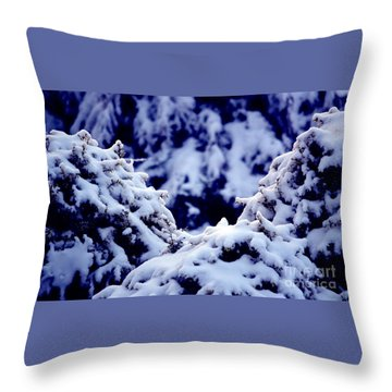 Throw Pillow featuring the photograph The Deep Blue - Winter Wonderland In Switzerland by Susanne Van Hulst