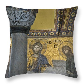The Deesis Mosaic With Christ As Ruler At Hagia Sophia Throw Pillow by Ayhan Altun