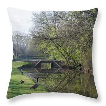 The Delaware Canal - Morrisville Pennsylvania Throw Pillow by Bill Cannon