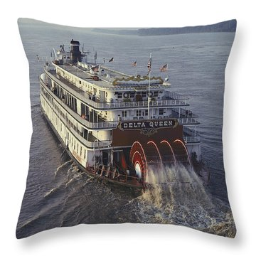 The Delta Queen, A Steamboat, Makes Throw Pillow