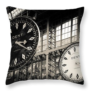 The Dent Clock And Replica At St Pancras Railway Station Throw Pillow