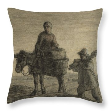The Departure For Work Throw Pillow by Jean-Francois Millet