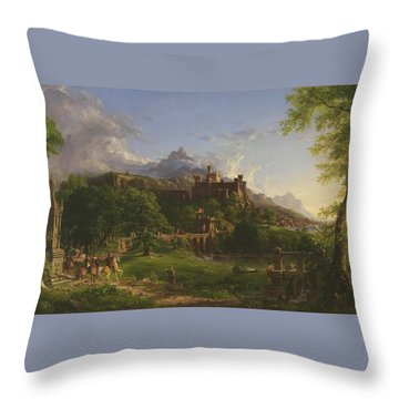 The Departure Throw Pillow by Thomas Cole