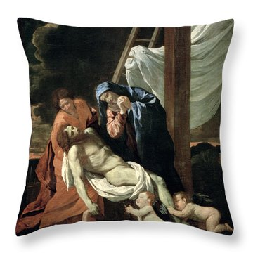 The Deposition Throw Pillow by Nicolas Poussin