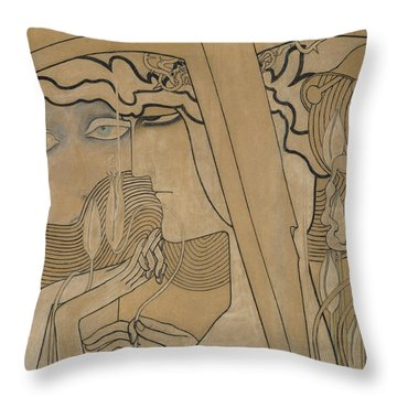 The Desire And The Satisfaction Throw Pillow by Jan Theodore Toorop