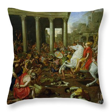 The Destruction Of The Temples In Jerusalem By Titus Throw Pillow by Nicolas Poussin