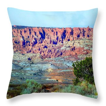 The Devil's Post Holes Throw Pillow by Annie Gibbons