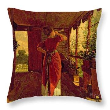 The Dinner Horn Throw Pillow by Winslow Homer