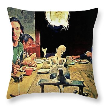 Throw Pillow featuring the painting The Dinner Scene - Texas Chainsaw by Taylan Apukovska