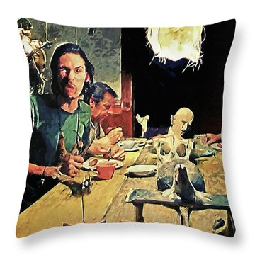 The Dinner Scene - Texas Chainsaw Throw Pillow