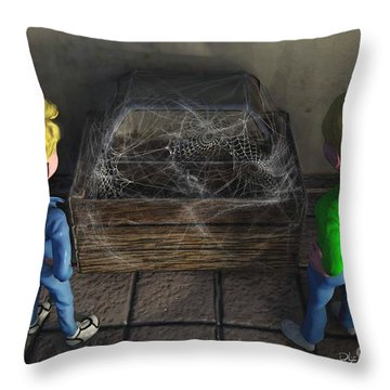 Throw Pillow featuring the painting The Dirty Treasure Chest by Dave Luebbert