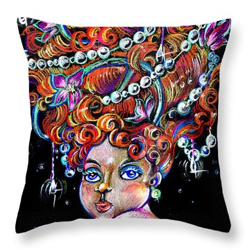 Throw Pillow featuring the drawing The Diva by Nada Meeks