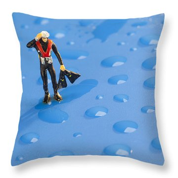Throw Pillow featuring the photograph The Diver Among Water Drops Little People Big World by Paul Ge