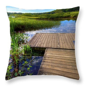 The Dock At Mountainman Throw Pillow by David Patterson
