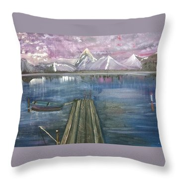 Throw Pillow featuring the painting The Dock by Debbie