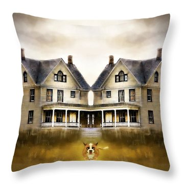 Throw Pillow featuring the digital art The Dog House by Kari Nanstad