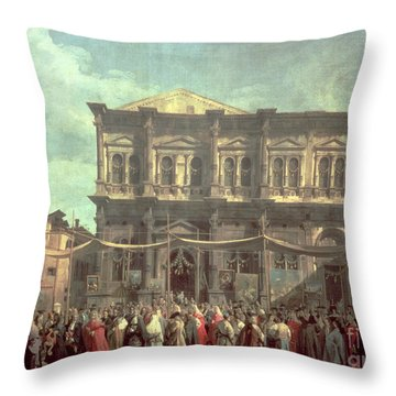 The Doge Visiting The Church And Scuola Di San Rocco Throw Pillow by Canaletto