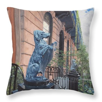The Dogs On West Tenth Street, New York, Ny  Throw Pillow by Barbara Barber