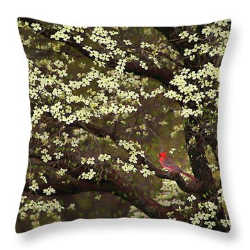 Throw Pillow featuring the digital art The Dogwoods And The Cardinal by Darren Fisher