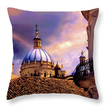 The Domes Of Immaculate Conception, Cuenca, Ecuador Throw Pillow by Al Bourassa