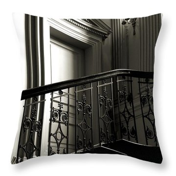 Throw Pillow featuring the photograph The Door At The Top Of The Stairs by Bob Wall