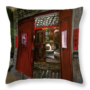 Throw Pillow featuring the painting The Red Door by Belinda Low