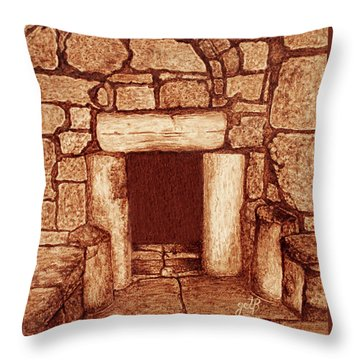 Throw Pillow featuring the painting The Door Of Humility At The Church Of The Nativity Bethlehem by Georgeta Blanaru