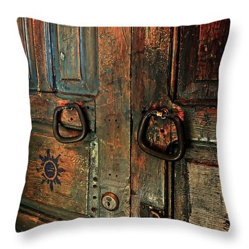 The Door Of Many Colors Throw Pillow