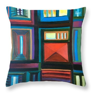 Throw Pillow featuring the painting The Doors Of Hope  by Laila Awad Jamaleldin