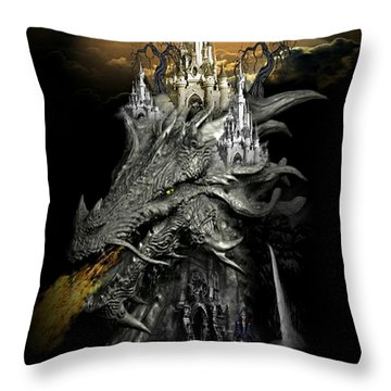 The Dragons Castle Throw Pillow by Ali Oppy