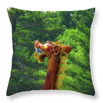 The Draken's Head Throw Pillow