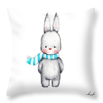 The Drawing Of Cute Bunny In Scarf Throw Pillow