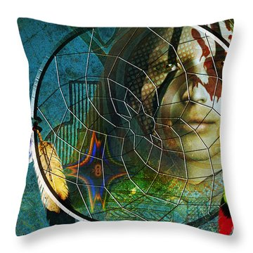 Throw Pillow featuring the digital art The Dream Catcher by Shadowlea Is