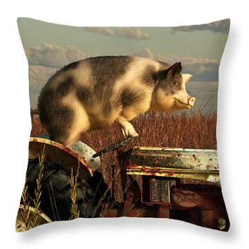 The Dream Of A Pig Throw Pillow