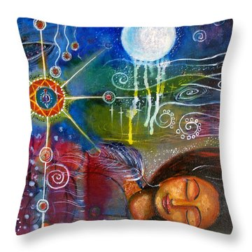 Throw Pillow featuring the painting The Dreamer by Prerna Poojara