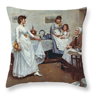 The Dress Rehearsal Throw Pillow by Albert Chevallier Tayler