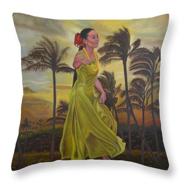 The Green Dress Throw Pillow