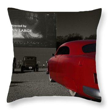 The Drive-in Throw Pillow by Dennis Hedberg