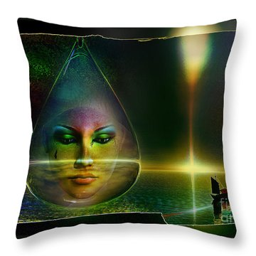 Throw Pillow featuring the digital art The Drop by Shadowlea Is