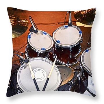 The Drum Set Throw Pillow by Paul Mashburn