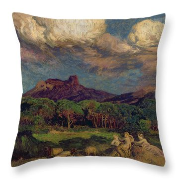 The Dryads Throw Pillow by Marie Auguste Emile Rene Menard