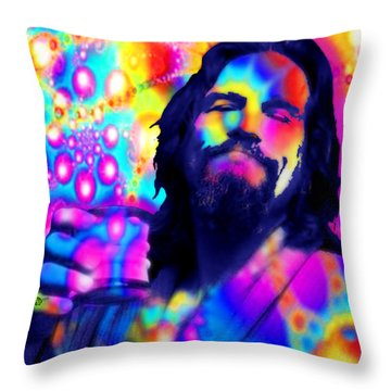 The Dude The Big Lebowski Jeff Bridges Throw Pillow by Tony Rubino