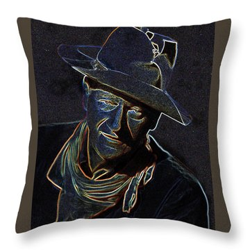 Throw Pillow featuring the mixed media The Duke by Charles Shoup