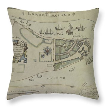 The Dukes Plan A Description Of The Town Of Mannados Or New Amsterdam 1664 Throw Pillow