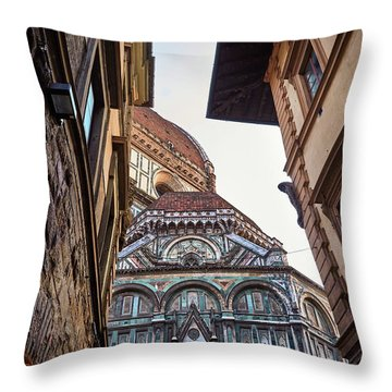 The Duomo Surrounded By Medieval Buildings In Florence, Italy Throw Pillow