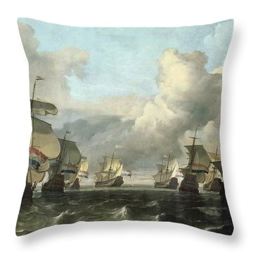 The Dutch Fleet Of The India Company Throw Pillow by Ludolf Backhuysen