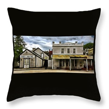 Throw Pillow featuring the photograph The Eagle Theater And Skalet Family Jewelers Old Sacramento by Thom Zehrfeld